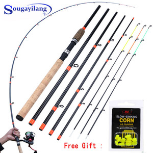 Sougayilang New Feeder Fishing Rod Lengthened Handle6 Sections Fishing Rod L M H Power Carbon Fiber Travel Rod Fishing Tackle B1203