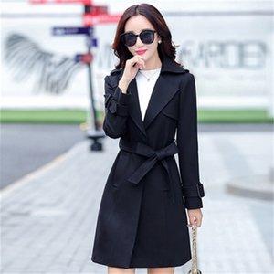 2021 New Preto do Sexo Primavera Outono Europeu Trench Coat Para Como Mulheres Plus Size Feminino Blusso 5xL FY270 SK10