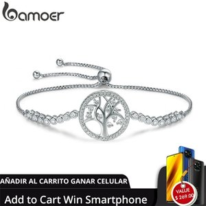 [add to cart win phone] BAMOER Hot Sale 100% 925 Sterling Tree of Life Tennis Women Bracelet Silver SCB035 Q1120