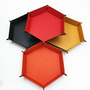 Desktop Storage Box Six Corners PU Foldable Dice Plate Red Black Purple Multi Colors Organizer New Arrival 11yl L1