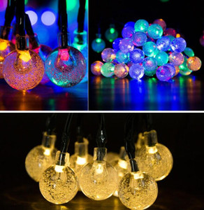 30 LED Solar Outdoor String Lights 6.5M Crystal Ball Globe Solar Powered Globe Fairy Lights Christmas Decoration Outdoor Lighting AHF3312