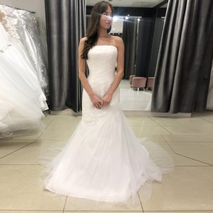 Strapless Mermaid Wedding Dresses 2021 Sweep Train Tulle Lace Up Back Plus Size Bridal Gowns vestido de novia