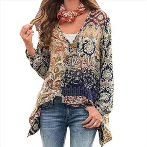 Women Floral Print Blouse Thin Summer Boho Shirt Long Sleeve V Neck Shirts 2020 Casual Ladies Tops Vintage Femme Blusas Oversize