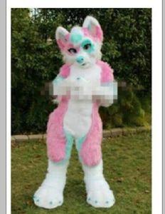 2019 Profession Hecho Pink Long Four Furry Fox Wolf Husky Dog Mascot Disfraz Fursuit Adulto Historieta Fiesta de Navidad