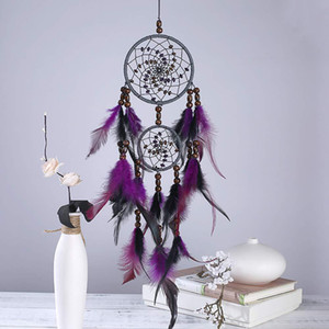 Feather Crafts Purple Dream Catcher Wind Chimes Handmade Dreamcatcher Net With Feather Beads for Wall Hanging Car Home Decor