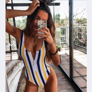 2020 Striped Swimwear One Piece Swimsuit Women Backless Monokini Swimsuit Sport Bodysuit Beach Bathing Suit Swim Red White B1203