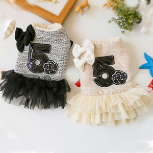 Rose Luxury Dog Clothes Dress Winter Thick Princess Bow Wedding Little Small Animals Pet Cat Costume Skirt For Terrier York Pugs