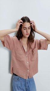 2020 new Spring Summer European Linen Short zaraing women blouse Shirt sheining vadiming female blouse Shirt Bgb2179