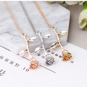 high quality Fashion Jewelry Pink Gold Rose Statement Pendant Necklace Women's Beauty and Beast Jewelry Lovers Gifts 4CND24