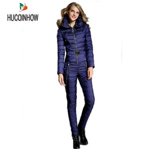 Warm Thicker White Duck Down Women Winter Ski Clothing Winter Thick Suit Skiing Jacket Down Pants Female Siamese Parka Outerwear Z1128