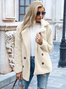 otoño invierno abrigo de las ventas calientes de doble botón de solapa suelta el suéter de lana de chaqueta de punto abrigo de oveja las mujeres de color caqui rojo rosa verde chaqueta marrón negro