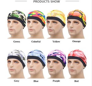 Unisex Silky Dome Cap Wave Caps Camouflage Satin Durags Stretchy Band Solid Hat Hip Hop Cap Beanie Swimming Cap Turban Hair Care CZ120103