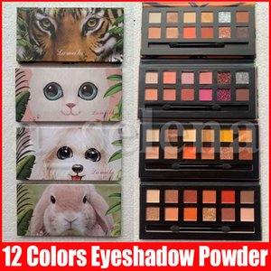 العين ظلال ماكياج 12 الألوان النمر الكلب أرنب القط ماتي وميض ظلال العيون ظلال العيون الحيوان بعد الحاح لوحة مسحوق مع فرشاة