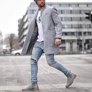 Men Solid Color Casual Coat Men Long Blends Coats Winter New Business Casual Overcoat Male
