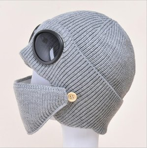 Pilot Sunglasses Ski Beanies Glasses Woolen Yarn Cold Proof Hat Winter Keep Warm Knitted Hat Sports Knitting Cap Party Hats YYB3336