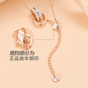 Luxury Rose Gold Double Ring Necklace Womens Chinese Valentines Day Gift Lucky Beads Pendant Swarovski Elements Crystal Clavicle Chain Fashi