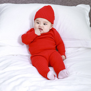 newborn baby things ribbed sets autumn winter tops knit sweater jumper pants trousers infant toddler kids girl boy 0 3 6 9 12 m Y1113
