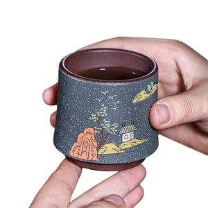 Creative Tea Cup 100ml Handmade Purple Clay Cups Vintage Teacup Upscale Mug Coffee Mugs China Teacups Teaware Decoration Crafts jllWEV