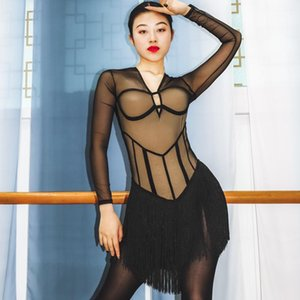 Stage Wear Latin Dance Dress Adult Women's Performance Skin Color Sexy Mesh Perspective Tassels One-Piece Bodysuit Costume1
