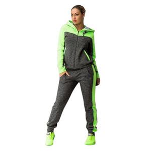 Kadın Spor İki Parçalı Set Trainning Egzersiz Setleri Kapüşonlu Kazak Eşofman Sweatpants Spor Giyim Sıcak #n