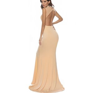 Vestido para mujer europeo y americano Venta en caliente Stitching Diamond Set Backless Trailing Trealing Dress Banquete Long Women