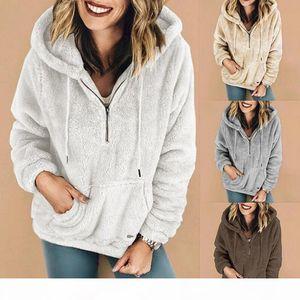 Women Sherpa Fleece Hoodie Hooded Pullovers Sweatshirt Long Sleeve Zipper Outwear Pocket Hoodies Plush stand collar coat pullover LJJA3116