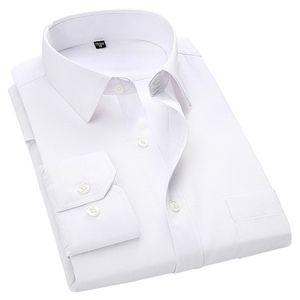 4XL 5XL 6xL 7XL 8XL большой размер мужской бизнес повседневная рубашка с длинными рукавами белый синий черный умный мужской социальный платье рубашка плюс Y200623