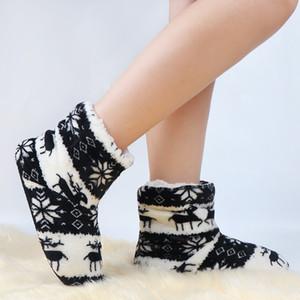 Barato Mujeres Deslizadores de invierno Red Black House Casa Zapatillas Femme Cálido Zapatos de interior Piel Navidad Calcetines Zapatos Pantuflas Mujer