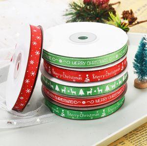 52YARDS / Lot 1cm Ruban de Noël Imprimer des rubans de flocon de neige enveloppant Cadeau Boîte d'emballage de Noël décorations de la maison de Noël