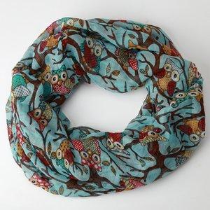 Scarf new high quality Voile fashion Women Ladies Owl Pattern Print Warm Wrap Shawl scarf