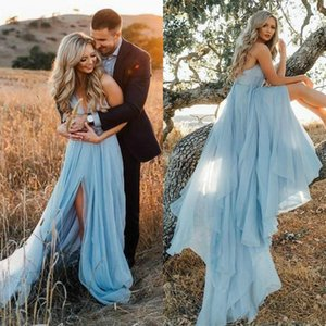 Sexy Engagement Party Dresses for Women Spaghetti Strap Backless High Slit A Line Court Train Sky Blue Tulle Boho Evening Dress