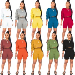 أوروبا وأمريكا حار بيع 2021 المرأة الخريف والشتاء جولة الرقبة طويلة الأكمام هوديي الجيب السراويل الأزياء عارضة بدلة قطعتين