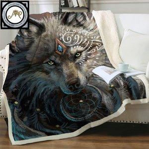 Wolf Warrior par SunimaArt Lits Couverture Soux Sherpa Fleece Couverture En Peluche Literie Wolf Dreamcatcher Joint Couverture Cobertor 201128