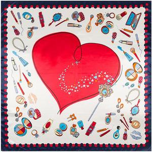 2020 square Silk scarf women 90*90cm free shipping New Fashion bandana high quality Love makeup lipstick Scarves Shawl Hijab