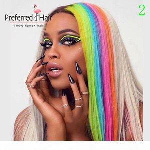 Предпочтительным цветом радуги красный синий зеленый подсветка парик бразильский реми прямой кружевной фронт парик пальцев волос человеческих волос для женщин