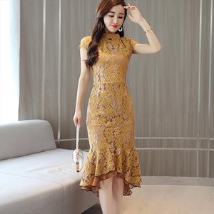 2019 summer women new temperament ladies slim slimming package hip lace fishtail dress retro solid color improved sexy cheongsam