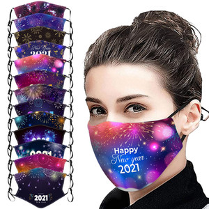 2021 Face Mask Reusable Washable Happy New Year Fashion Printed Mask with Adjustable Elastic Earloops for Outdoor Xmas Decorations
