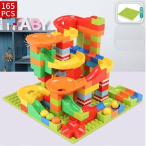 Martin799 165pcs 330pcs Crazy Ball Building Blocks Marble Race Run Maze Ball Track Building Blocks Plastic Funnel Slide Toy Blocks Toys
