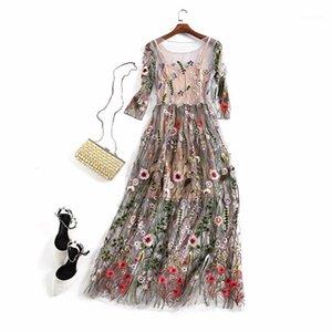 Bamskarosa Runway 2017 Abiti da sera Abiti da festa splendida Mezza manica Sheer Mesh Ricamo Boho Bohemian Long Dress Style di marca1