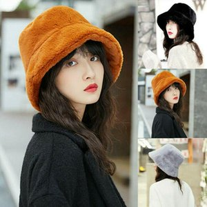 Womens Casual Winter Fluffy Plush Bucket Hat Ladies Fashionable Solid Color Warm Faux Fur Fisherman Caps