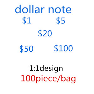 2020 Hot Sale Counterfeit 1,5,20.50,100 Dollars Fake Money Banknotes Prop Money Paper Toy Banknote Bar Atmosphere Stage Birthday Party 25