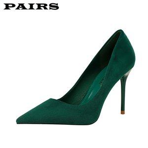 BigTree Brand Designer Bombas Zapatos Mujeres Tacones Altos Sexy Stiletto Faux Suede Green Shoes Office Party Shoes Plus Talla 43 C1120