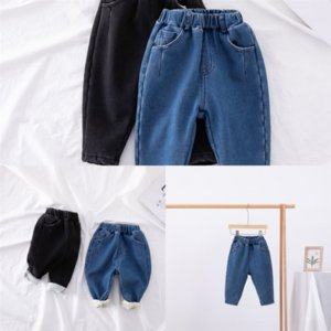 haDLJ New Children Clothing Sets Kids Girls jeans Jeans Shirts and Lace Skirt Pants Thicken Teenage Keep warm child TwoSet Add velvet