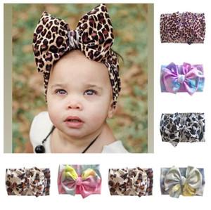 Crianças Headbands Tie-tingido Leopard Impresso Grande Bow Banda de Cabelo Bandas Bandas de Cabelo Elástica Elástica Headband Bebê Meninas Meninos Headwear E120410