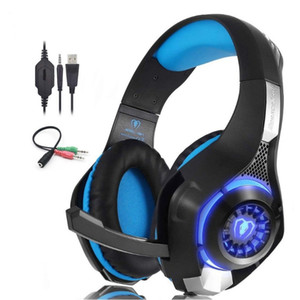 Head-Mounted Ps4 Gaming Headset Adjustable Anti-Dazzling With Led Lights And Microphone Blue and Red Two Color Available