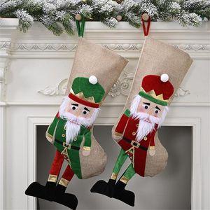 New Year 2021 Decor Christmas Stocking Linen Nutcracker Soldier Bag Christmas Socks Fireplace Chimneys Decorations Natale 20201
