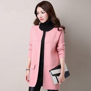Nova Primavera Blusas Mulheres Cardigan em Long Seção Tamanho Big coreana versão do Selvagem Bones Sweater Xale 6088 UV6N
