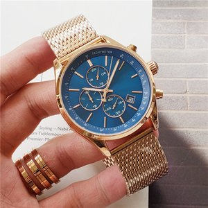 luxury mens watches All pointer work functional chronograph quartz watch stainless steel strap waterproof designer stopwatch