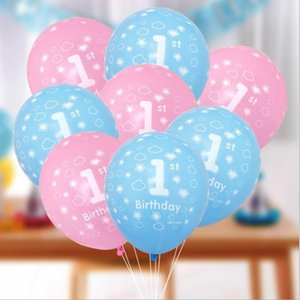 10Pcs Baby Shower 1st Birthday Balloon Pink blue Latex Balloon For Boys Girls Baby 1 Year Old First Birthday Kids Gift Toys