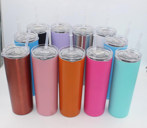 20oz Skinny Tumbler Cups Double Wall Stainless Steel 20 oz Tumbler Vacuum Insulated Straight Cugs Flask Beer Coffee mugs with straws & lids